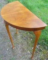 Yew Wood Half Round Console Table